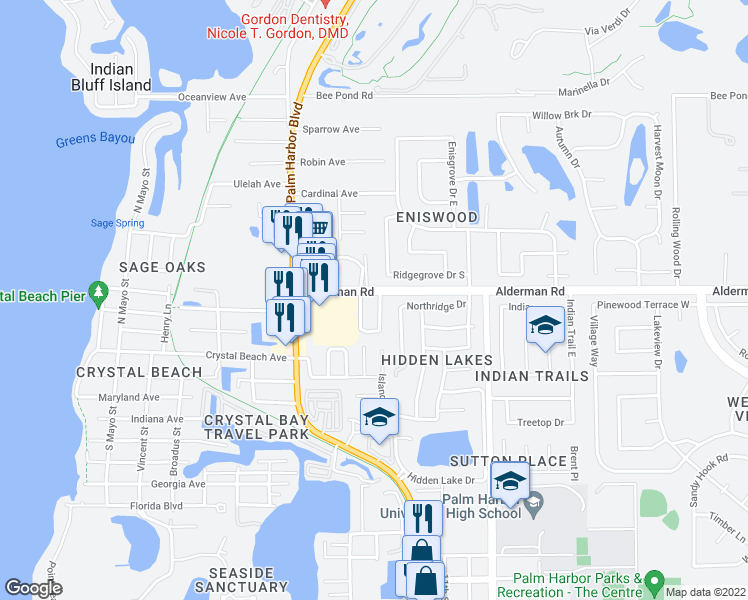 map of restaurants, bars, coffee shops, grocery stores, and more near 104 Ramona Circle in Palm Harbor