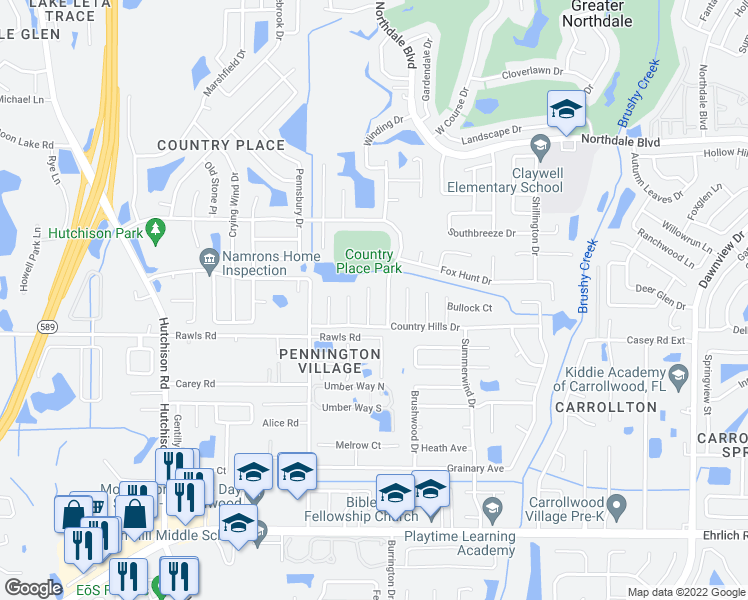 map of restaurants, bars, coffee shops, grocery stores, and more near 15709 Pony Place in Tampa