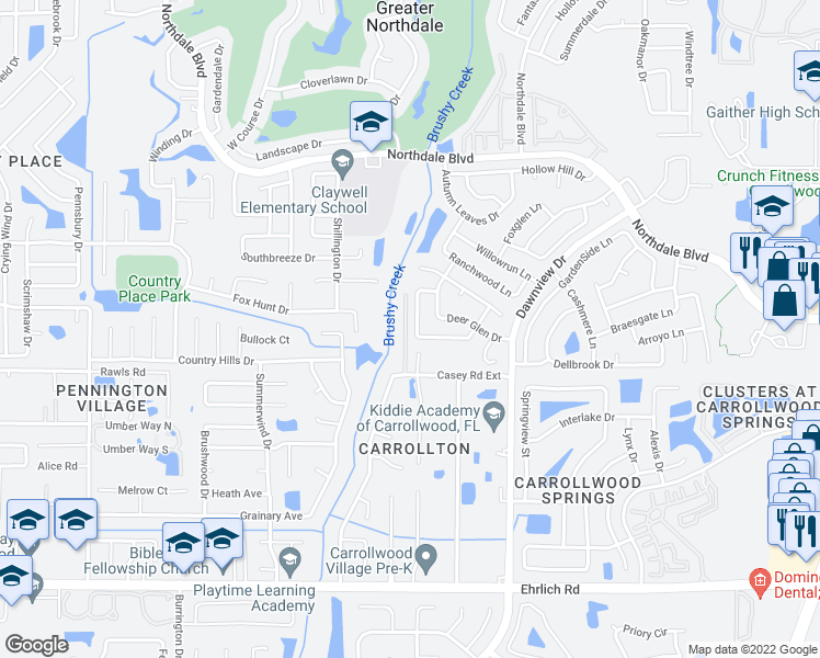 map of restaurants, bars, coffee shops, grocery stores, and more near 15628 Bear Creek Drive in Tampa