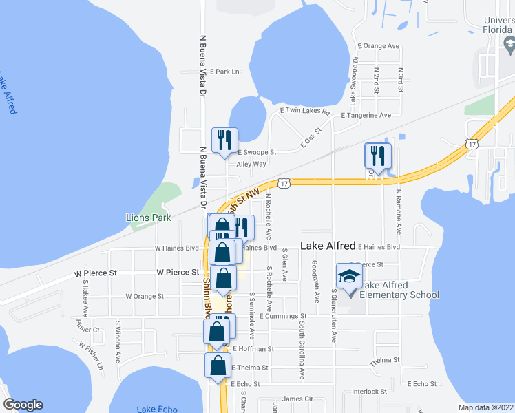 map of restaurants, bars, coffee shops, grocery stores, and more near 255 East Main Street in Lake Alfred