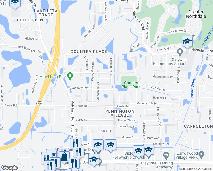 map of restaurants, bars, coffee shops, grocery stores, and more near 5108 Pennsbury Drive in Tampa