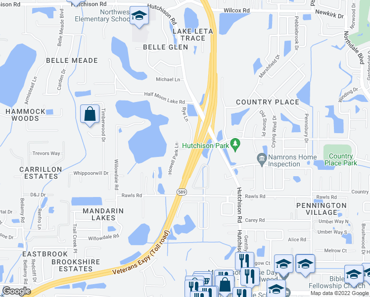 map of restaurants, bars, coffee shops, grocery stores, and more near in Tampa