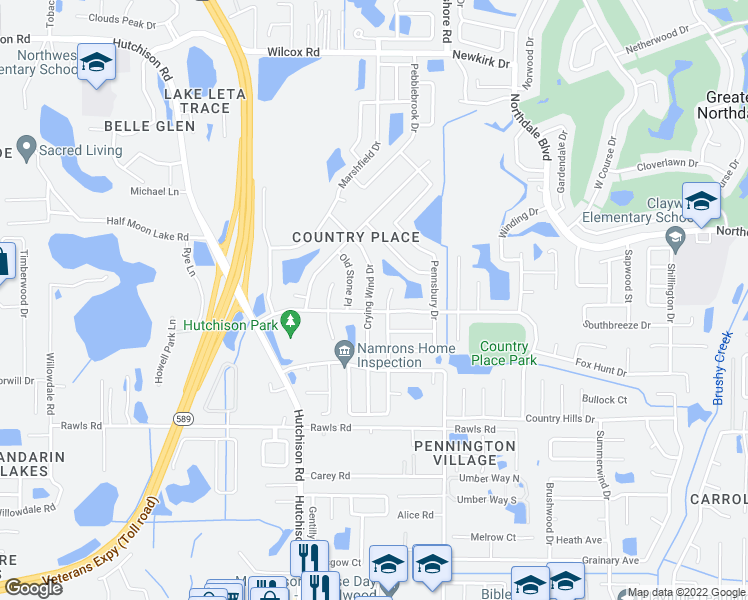 map of restaurants, bars, coffee shops, grocery stores, and more near 15903 Crying Wind Drive in Tampa