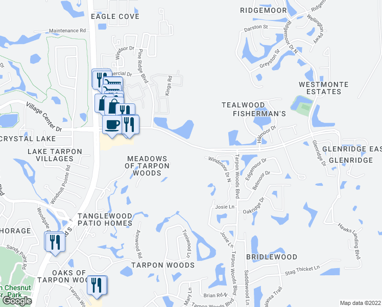 map of restaurants, bars, coffee shops, grocery stores, and more near 3196 Windmoor Drive North in Palm Harbor