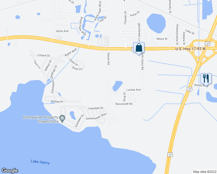 map of restaurants, bars, coffee shops, grocery stores, and more near 467-477 Dyson Road in Haines City