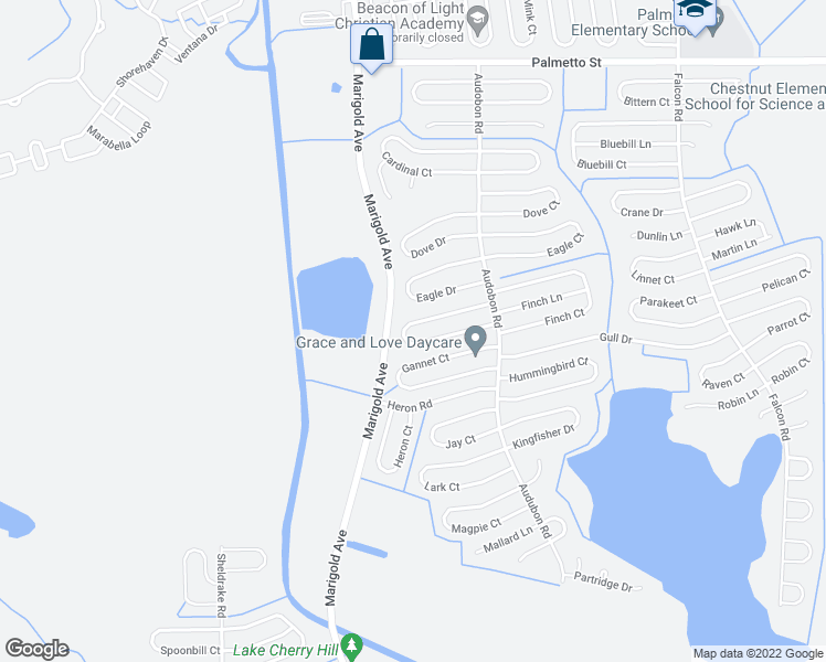 map of restaurants, bars, coffee shops, grocery stores, and more near 432 Flamingo Court in Kissimmee