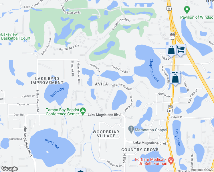 map of restaurants, bars, coffee shops, grocery stores, and more near 16314 Villarreal De Avila in Tampa