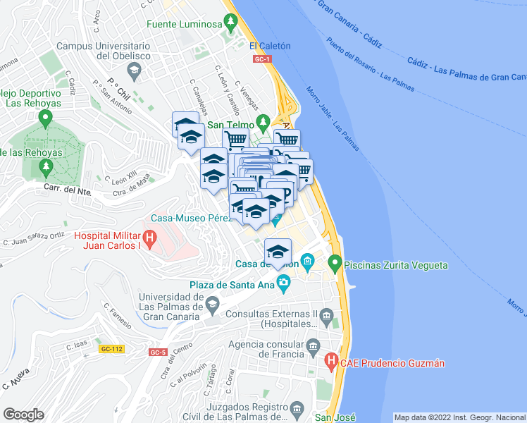 map of restaurants, bars, coffee shops, grocery stores, and more near in Las Palmas de Gran Canaria
