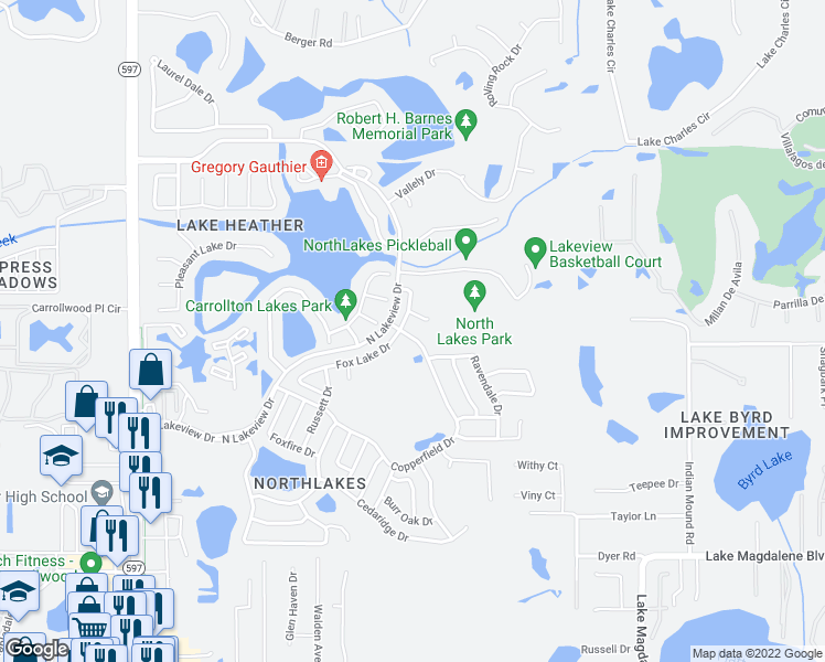 map of restaurants, bars, coffee shops, grocery stores, and more near 16211 Copperfield Drive in Tampa