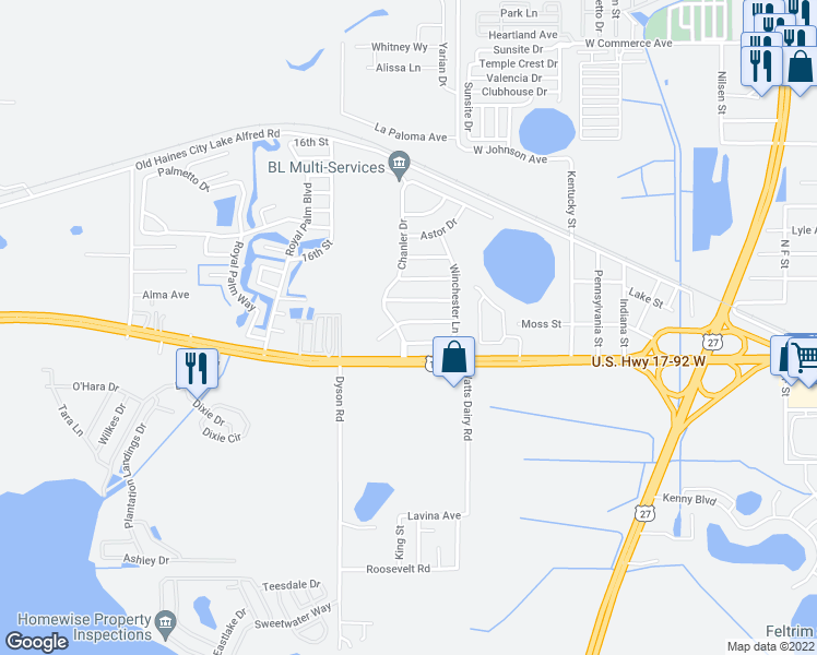map of restaurants, bars, coffee shops, grocery stores, and more near 213 Remington Place in Haines City
