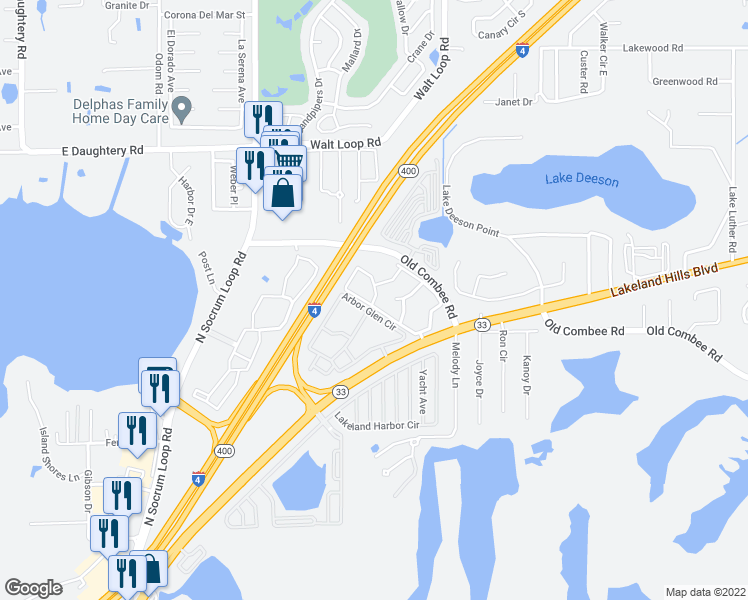 map of restaurants, bars, coffee shops, grocery stores, and more near Central Parke Circle in Lakeland