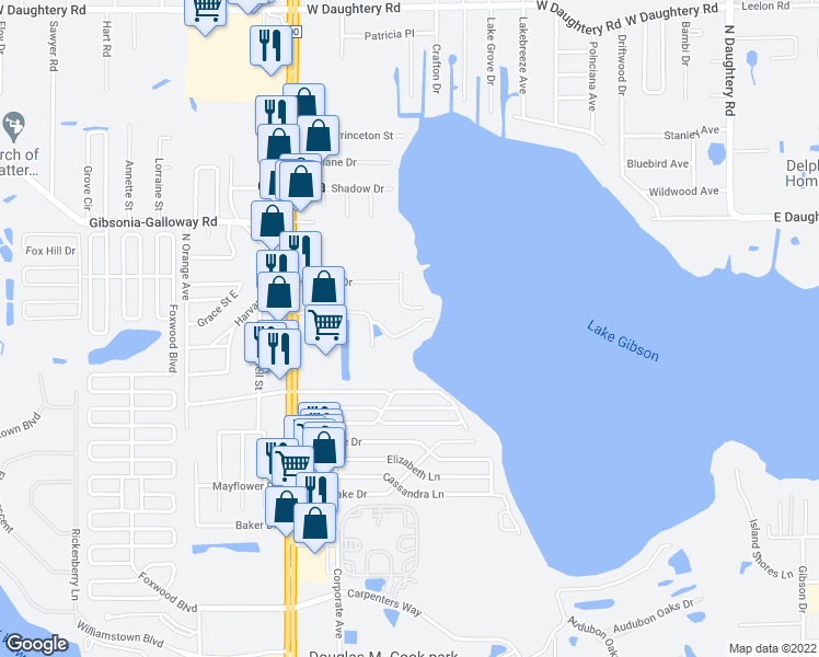 map of restaurants, bars, coffee shops, grocery stores, and more near Dewey Lane in Lakeland