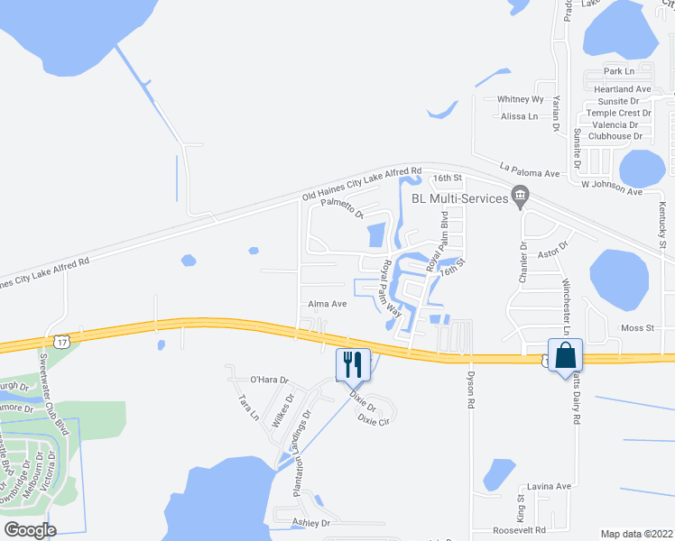 map of restaurants, bars, coffee shops, grocery stores, and more near 4031 Crofford Avenue in Haines City