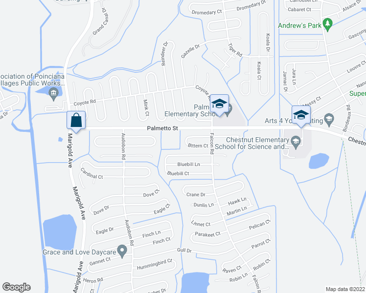 map of restaurants, bars, coffee shops, grocery stores, and more near 625 Bittern Court in Poinciana