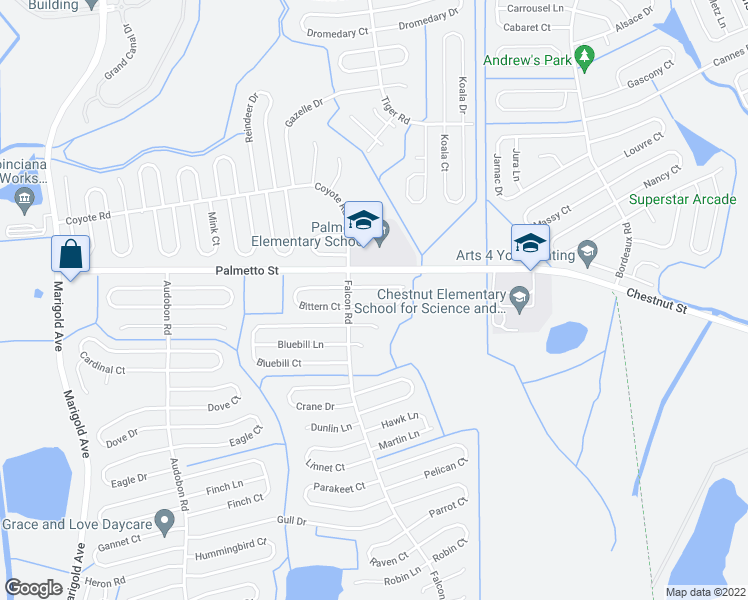 map of restaurants, bars, coffee shops, grocery stores, and more near 734 Bittern Lane in Kissimmee