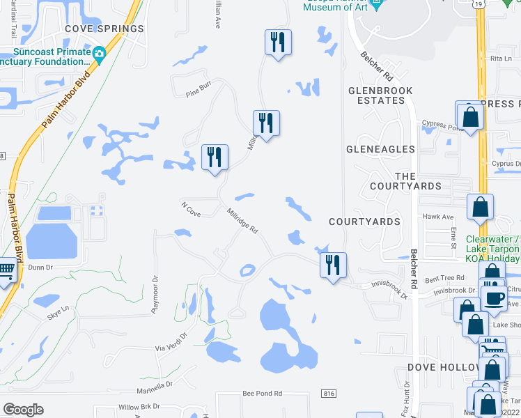 map of restaurants, bars, coffee shops, grocery stores, and more near 36750 US Highway 19 North in Palm Harbor