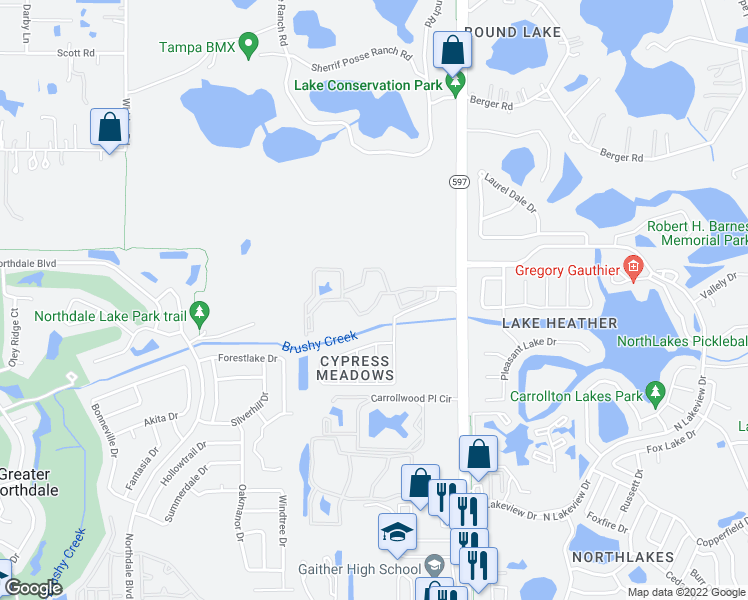 map of restaurants, bars, coffee shops, grocery stores, and more near 3605 Landings Way Drive in Tampa