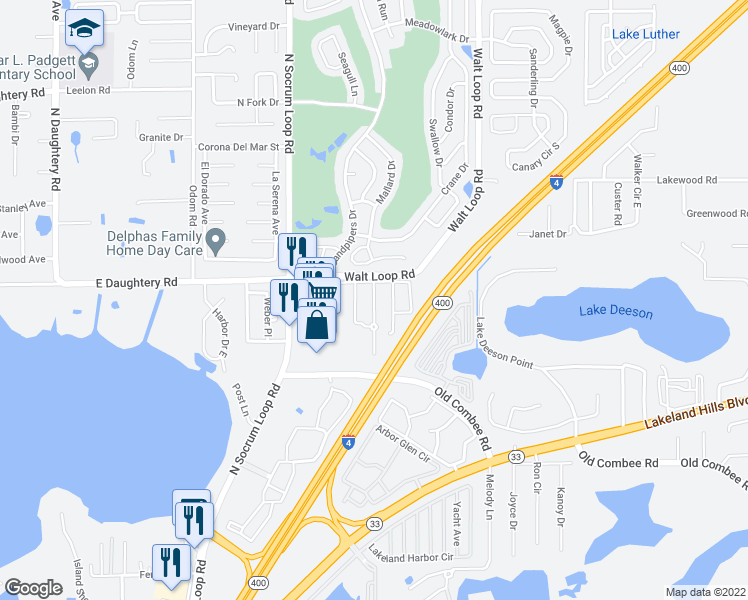 map of restaurants, bars, coffee shops, grocery stores, and more near 5435 River Rock Road in Lakeland