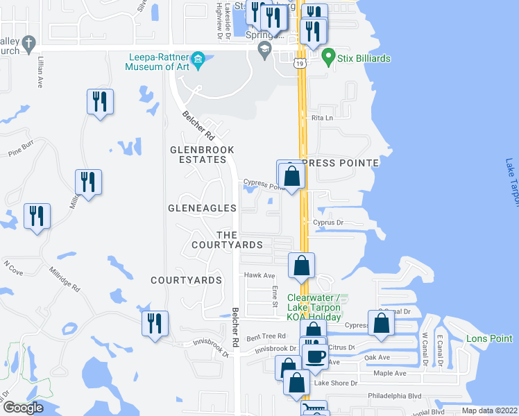 map of restaurants, bars, coffee shops, grocery stores, and more near 2350 Cypress Pond Road in Palm Harbor