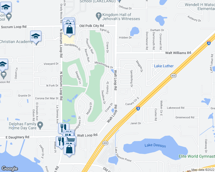 map of restaurants, bars, coffee shops, grocery stores, and more near Condor Drive in Lakeland