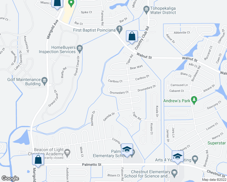 map of restaurants, bars, coffee shops, grocery stores, and more near 646 Dromedary Court in Poinciana