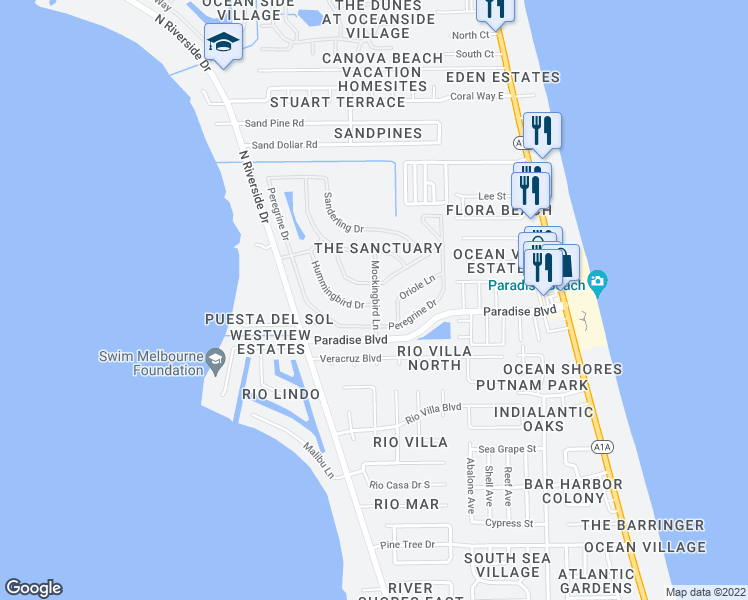map of restaurants, bars, coffee shops, grocery stores, and more near 534 Hummingbird Drive in Indialantic