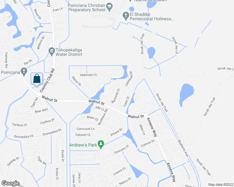 map of restaurants, bars, coffee shops, grocery stores, and more near 312 Baccarat Court in Kissimmee