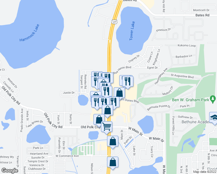 map of restaurants, bars, coffee shops, grocery stores, and more near 39895 U.S. 27 in Haines City