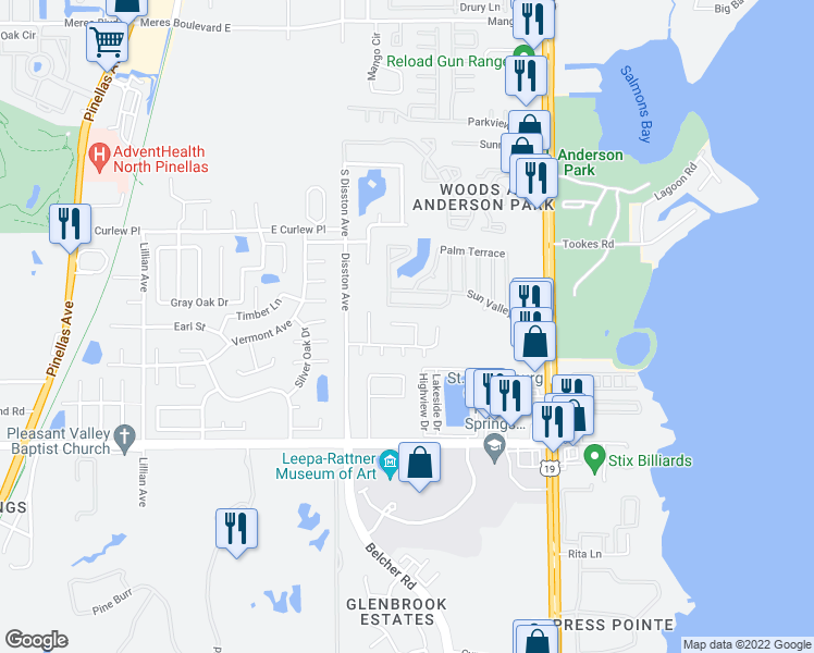 map of restaurants, bars, coffee shops, grocery stores, and more near 615 Fair Oaks Drive in Tarpon Springs