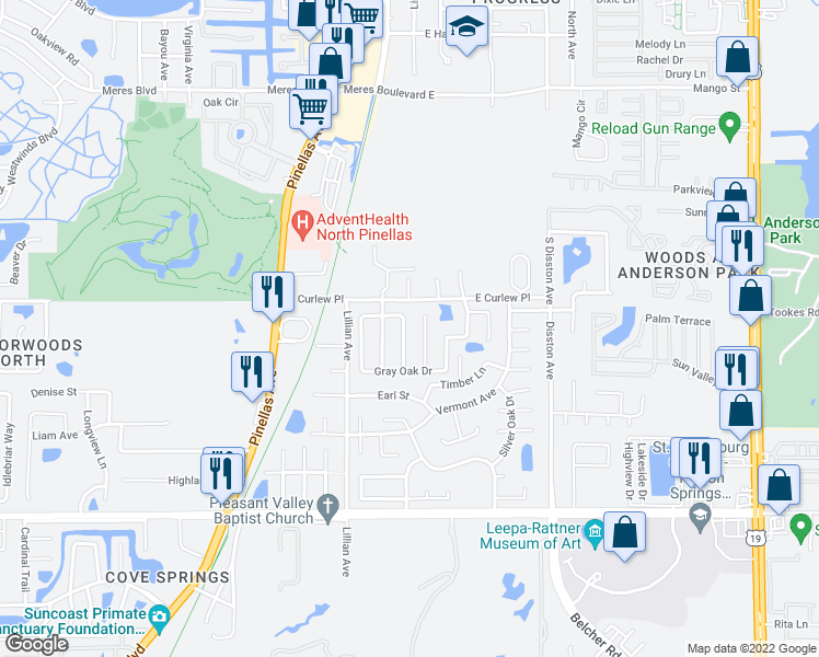 map of restaurants, bars, coffee shops, grocery stores, and more near 1661 Oak Spring Drive in Tarpon Springs
