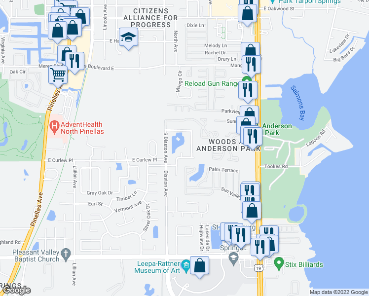 map of restaurants, bars, coffee shops, grocery stores, and more near 1289 Raleigh Court in Tarpon Springs