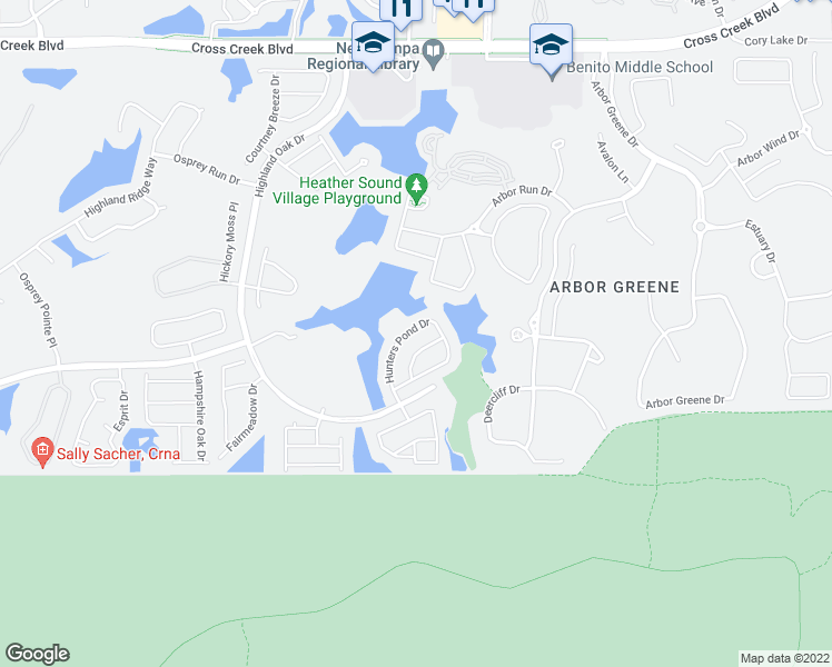 map of restaurants, bars, coffee shops, grocery stores, and more near 9427 Hunters Pond Drive in Tampa