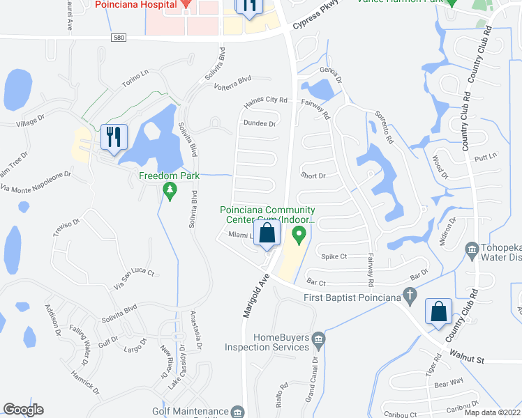 map of restaurants, bars, coffee shops, grocery stores, and more near 316 Jacksonville Court in Kissimmee