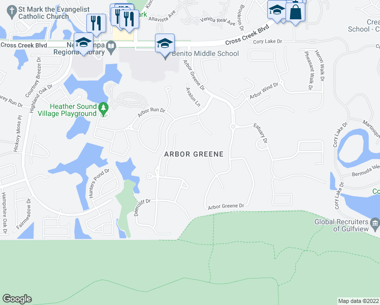 map of restaurants, bars, coffee shops, grocery stores, and more near 17922 Arbor Haven Drive in Tampa