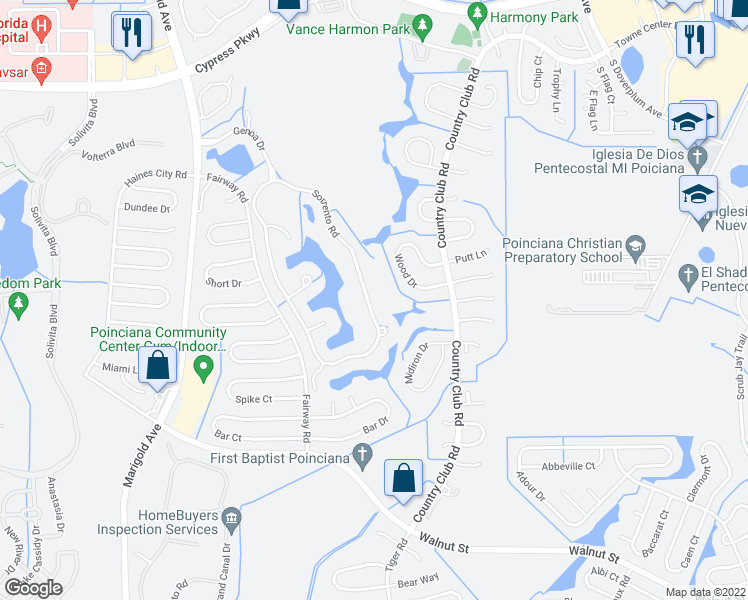 map of restaurants, bars, coffee shops, grocery stores, and more near 252 Sorrento Road in Kissimmee