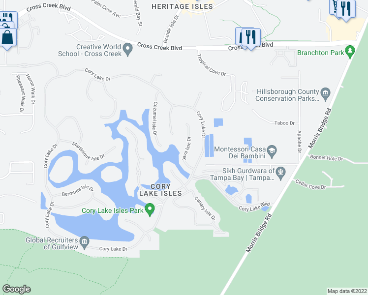 map of restaurants, bars, coffee shops, grocery stores, and more near 18032 Java Isle Drive in Tampa