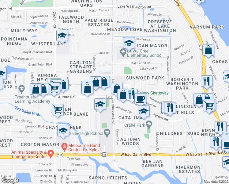 map of restaurants, bars, coffee shops, grocery stores, and more near 286 San Juan Circle in Melbourne