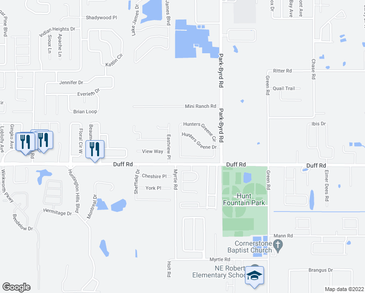 map of restaurants, bars, coffee shops, grocery stores, and more near 7403 Hunters Greene Circle in Lakeland