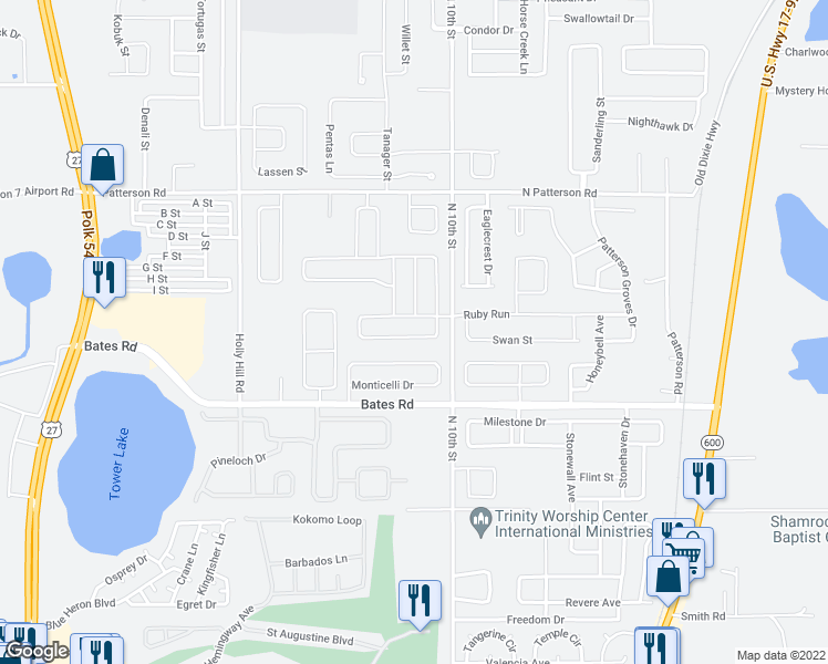 map of restaurants, bars, coffee shops, grocery stores, and more near 640 Meadow Pointe Drive in Haines City