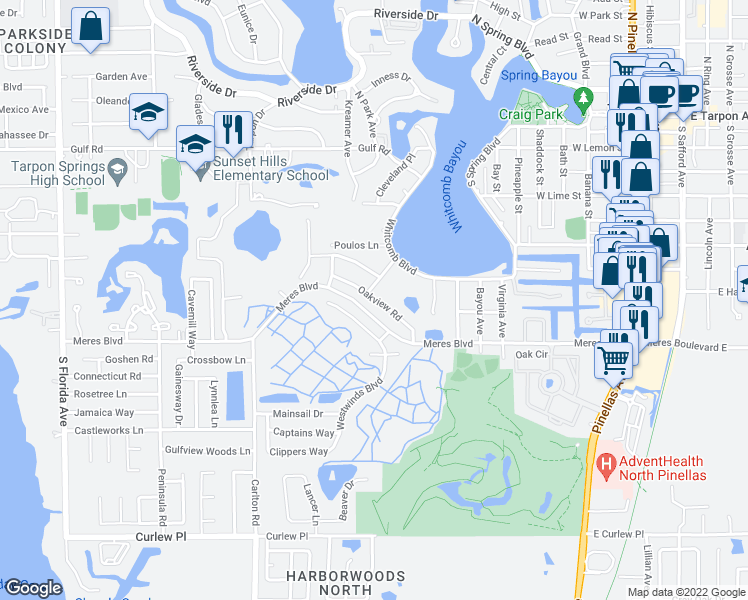 map of restaurants, bars, coffee shops, grocery stores, and more near Oakview Road in Tarpon Springs