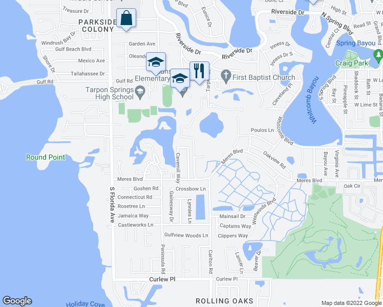 map of restaurants, bars, coffee shops, grocery stores, and more near 705 Crimson King Trce in Tarpon Springs