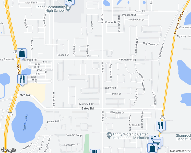 map of restaurants, bars, coffee shops, grocery stores, and more near 906 Fallon Hills Drive in Haines City