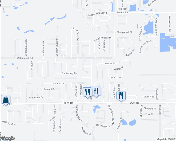 map of restaurants, bars, coffee shops, grocery stores, and more near 7703 Jordan Heights Drive in Lakeland