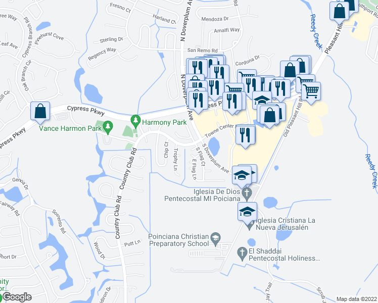 map of restaurants, bars, coffee shops, grocery stores, and more near 6 South Flag Court in Kissimmee