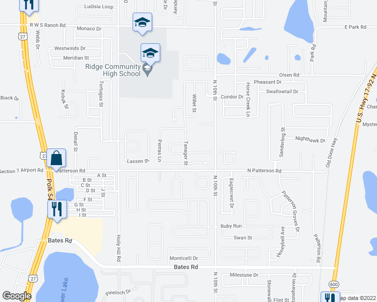 map of restaurants, bars, coffee shops, grocery stores, and more near 381 Tanager Street in Haines City