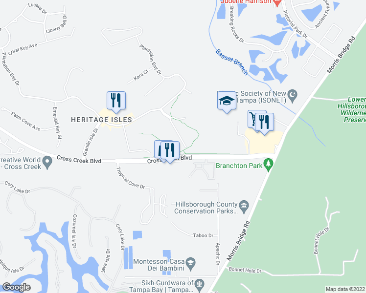 map of restaurants, bars, coffee shops, grocery stores, and more near 18102 Nassau Point Dr in Tampa