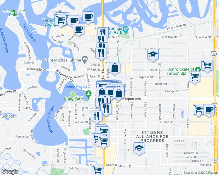 map of restaurants, bars, coffee shops, grocery stores, and more near 124 Hibiscus St in Tarpon Springs