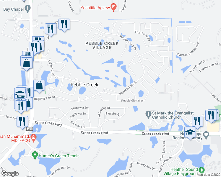 map of restaurants, bars, coffee shops, grocery stores, and more near 9322 Fairway Lakes Court in Tampa
