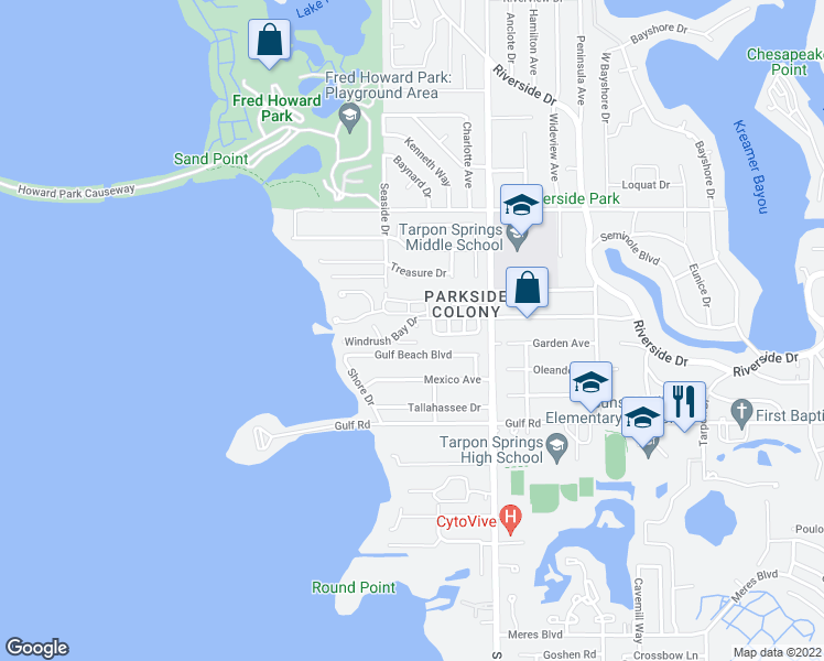 map of restaurants, bars, coffee shops, grocery stores, and more near 413 Windrush Bay Drive in Tarpon Springs