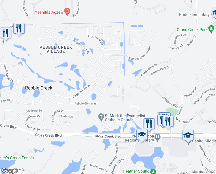 map of restaurants, bars, coffee shops, grocery stores, and more near 18305 Cypress View Way in Tampa